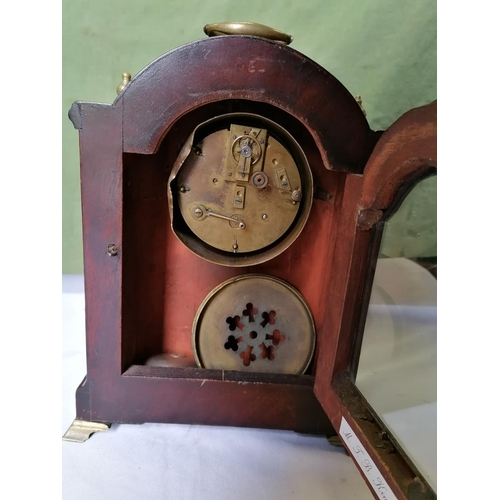 309 - Brass and mahogany mantel clock A/F...