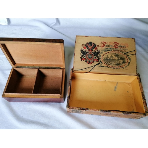 316 - Two vintage boxes (one cigar, one wooden)...