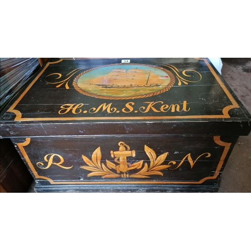 34 - A large hand painted wooden chest depicting 'HMS Kent'...