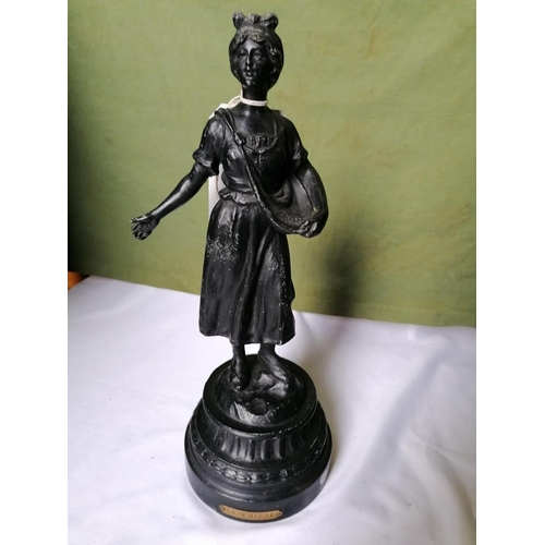348 - Cast metal figurine on pedestal base 'La Semeuse', lady sowing corn, height 38cm...