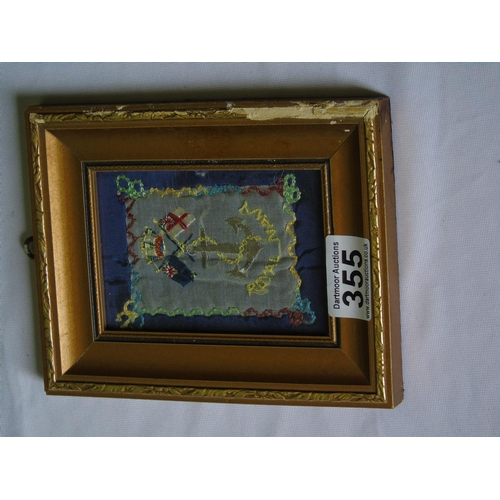 355 - Small framed Royal Navy embroidered flag...