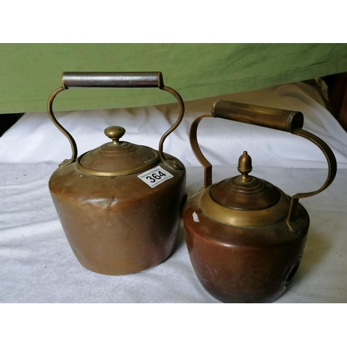 364 - Two copper and brass kettles - no spouts...