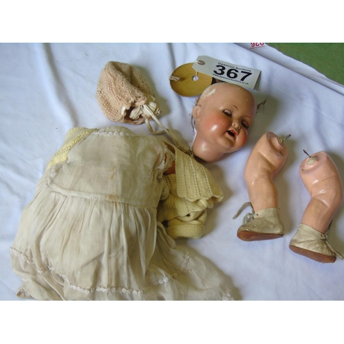 367 - An old bisque-headed doll, for restoration...