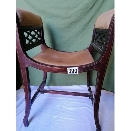 390 - A mahogany single window seat with pierced lattice sides and stringing, velvet upholstery. Imagine t...