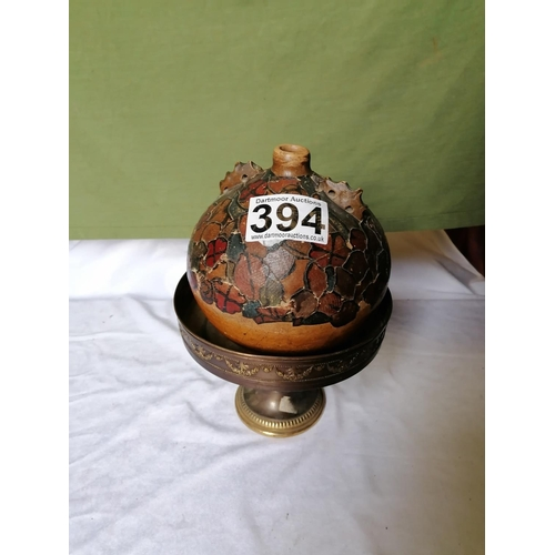 394 - A water carrier pot with decoupage, ht 20cm...