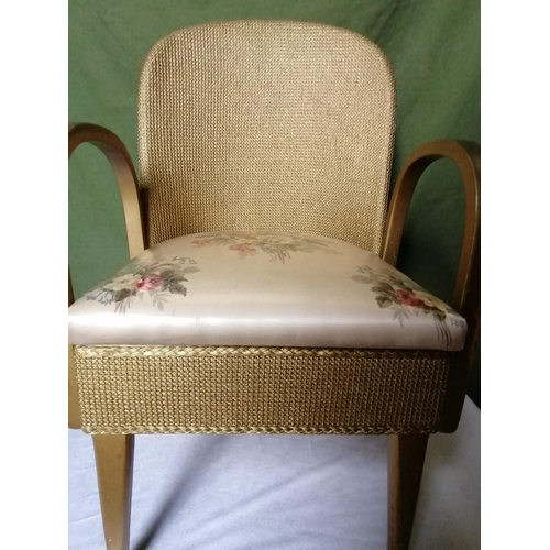 40 - A lovely gold and chintz fabric Lloyd Loom style commode chair for indoors/garden...