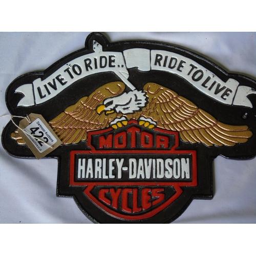 422 - Iron Harley Davidson 'Ride to Live' Sign...