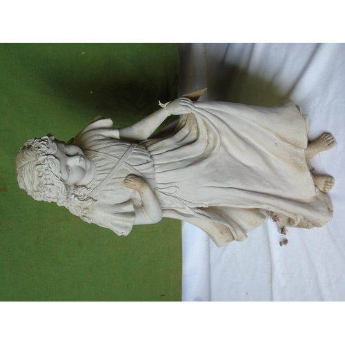 443 - Cast statuette of a girl, ht approx 60cm...
