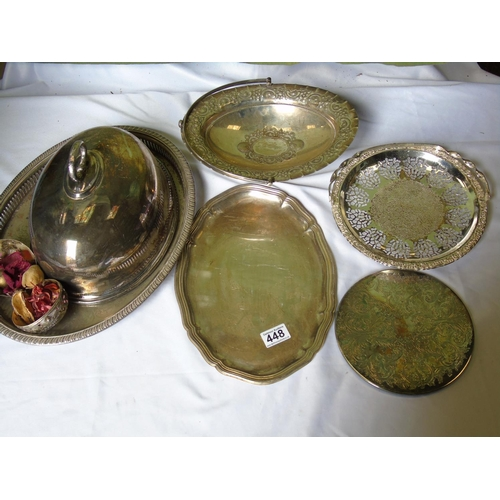 448 - Five silver plated items: a filigree pattern cake tray; a fruit bowl with repousse design; a chased ...