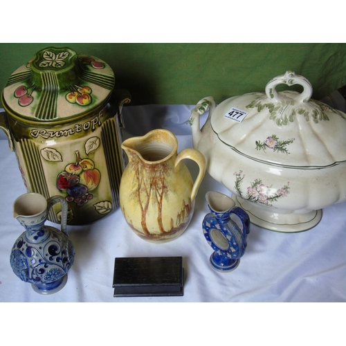 477 - 1 x Tureen and 1 x biscuit bin etc...
