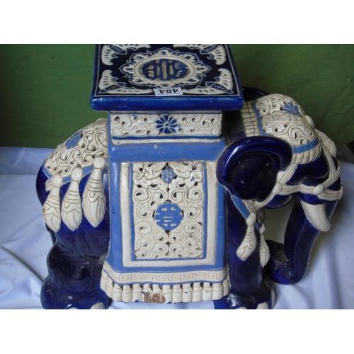 484 - A large blue and white porcelain elephant...