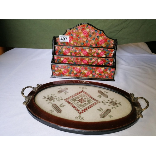 497 - Stationery holder and cross stitch...