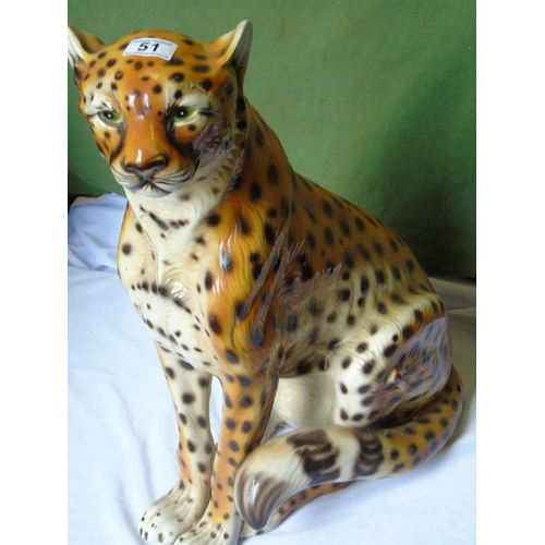51 - A large and characterful china leopard, ht 60 cm. A beautiful friend....