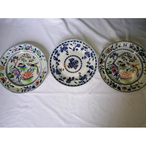 54 - Three collectors' antique plates: two Davenport Stone China Regency plates; a Delft blue/white plate...