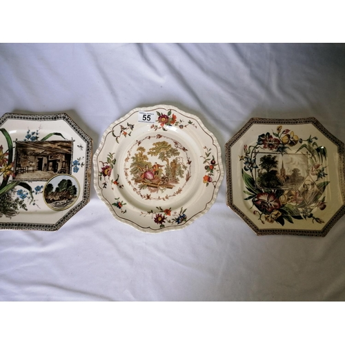 55 - Three more antique plates: a Mason's ironstone 'Watteau' plate; two Aesthetic Movement World Series ...