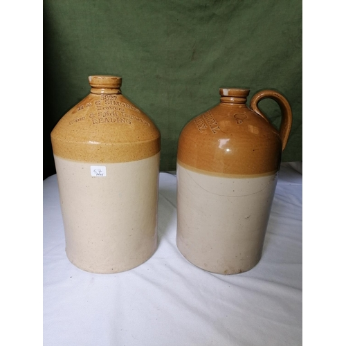 57 - Two stoneware flagons: one with handle, stamped John Hatherell, Old Sodbury and Simonds Brewers of R...