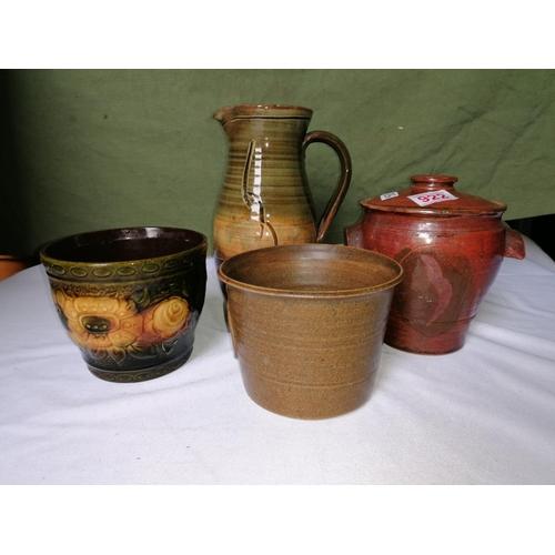58 - Four studio pottery items: a West German Sheurich Keramik pot; a Suffolk Wattisfield Ware jug; a gla...