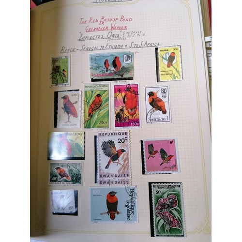 90 - A thematic collection of Bird stamps arranged by species and written up in twenty albums with mint a...