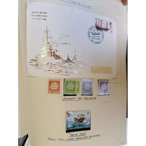 91 - A thematic collection of ship stamps arranged by vessel type and written up in ten albums with mint ...