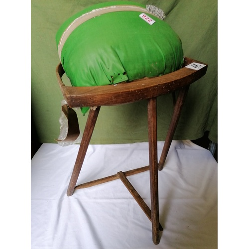 46 - A Devon lacemaker's cushion with stool, with old photo of same...