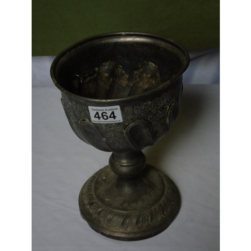464 - An antique silver metal chalice with chased and embossed decoration...