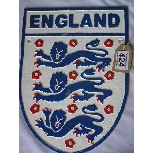 424 - Cast iron England three lions sign...