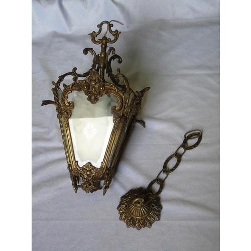 80 - A pretty French-style brass lantern pendant fitting...