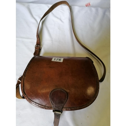 176 - A leather casket case, hand stitched and made in Devon, good condition. Would make a good handbag to...