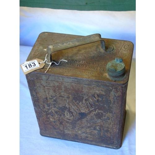 183 - An original Redline (BP) petrol can with brass cap marked BP...