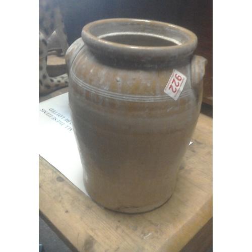 193 - A brass cream/jam pan, diam 38cm and a two-handled glazed stoneware pot...