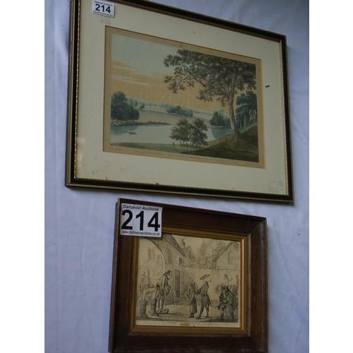 214 - Two antique prints: 'Walton Bridge', after Joseph Farington RA ( 1747-1821), framed and glazed, 35 x...
