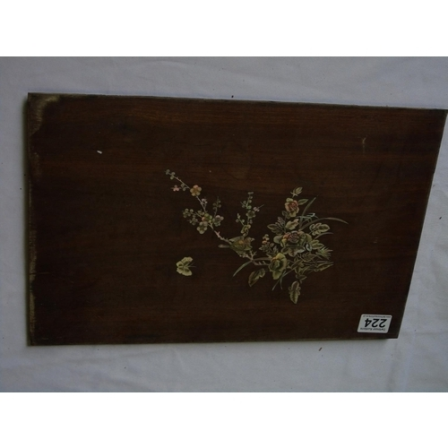 224 - A mahogany panel piece with inlaid bird, butterfly and floral design in mother-of-pearl, 29 x 43 cm...