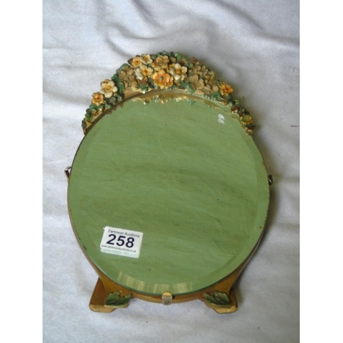 258 - A Barbola mirror, stands up, ht 32cm...