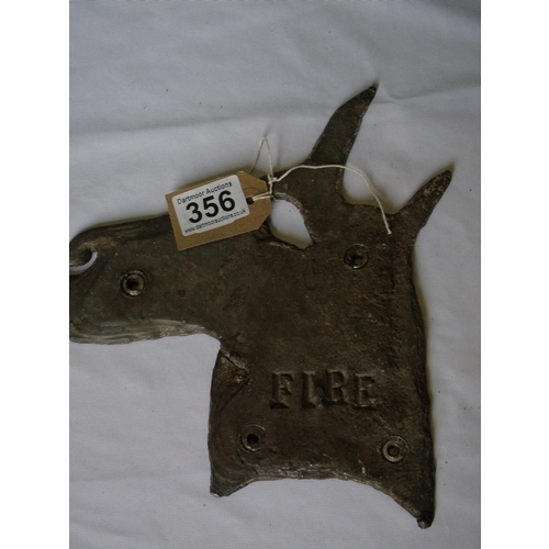 356 - A lead horsehead 'Fire' sign for the stable...