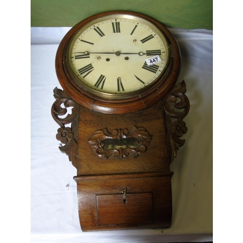 447 - A wall clock with carved oak case, A/F...