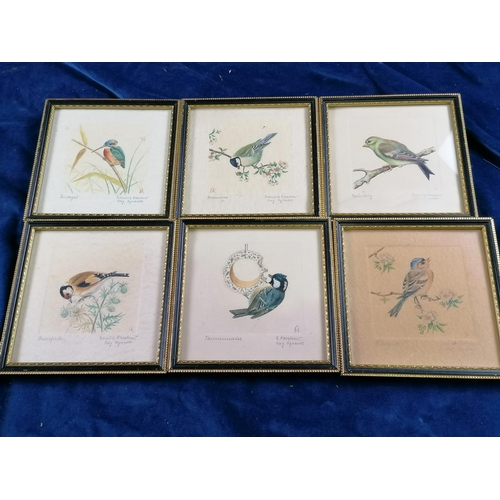 17 - Attractive set of six good quality aquarelle pencil drawings of hedgerow birds, in original part gil...