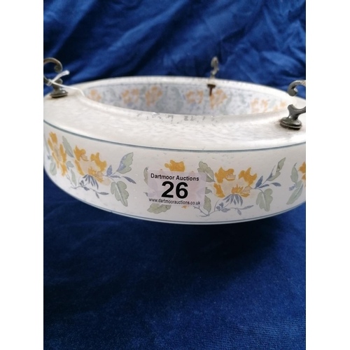 26 - An attractive 1950s large ceiling bowl, the shaped circular outline decorated with panels of summer ...