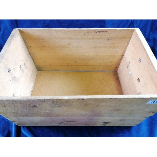39 - A wooden rectangular box with two iron handles, 49cm...