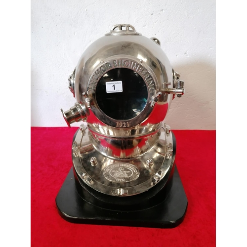 1 - Of Huge Architectural interest. Impressive Silver Diving Helmet on stand by Anchor engineering.