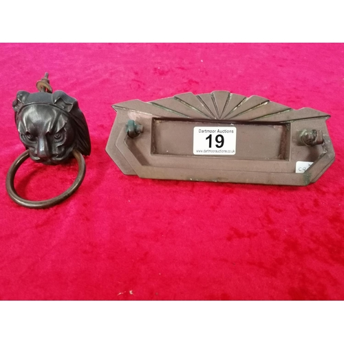 19 - Old lion doorknocker and Art deco letter box