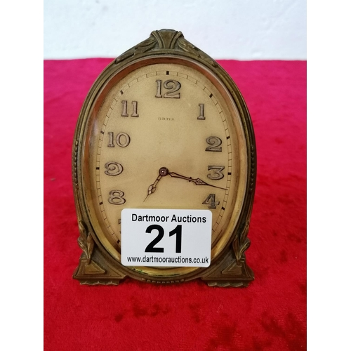 21 - 6 Day brass mantle clock