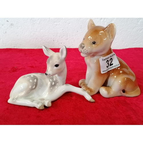 32 - Very pretty China ornaments of a deer and lion cub