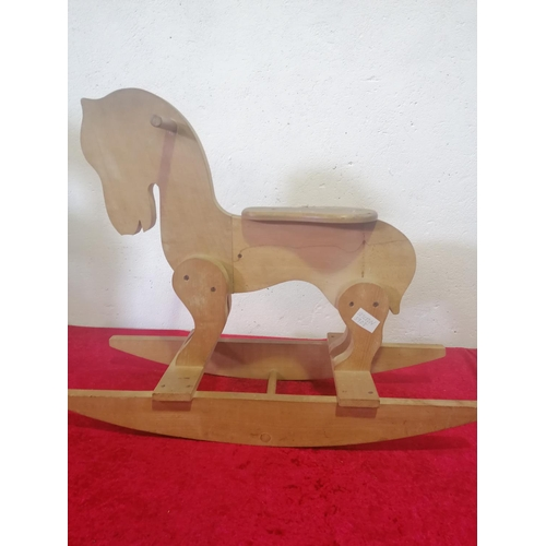 15 - Child's Wooden Rocking Horse. Modern in style. With good grip handles. Very good condition