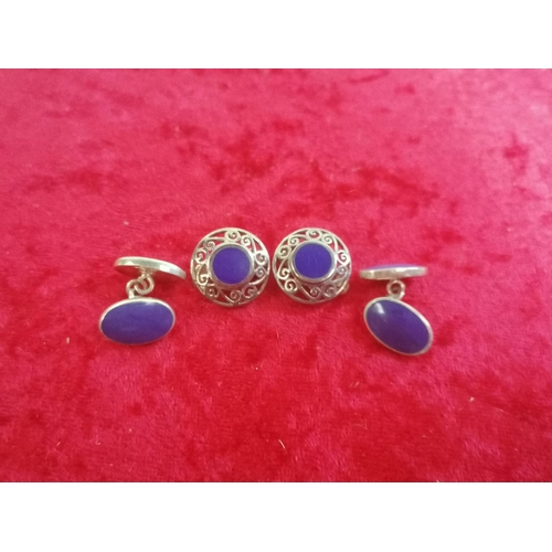 39 - A pair of Silver and blue enamel cufflinks and earrings (g25)