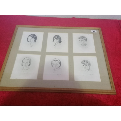 42 - Six Pencil Portraits very prettily framed of Adolescents. 25x20 Inches