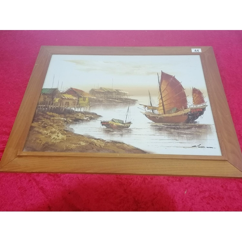 44 - Exotic and thoughtful Chinese Junk Painting in Peasant Harbour. 29x23 Inches