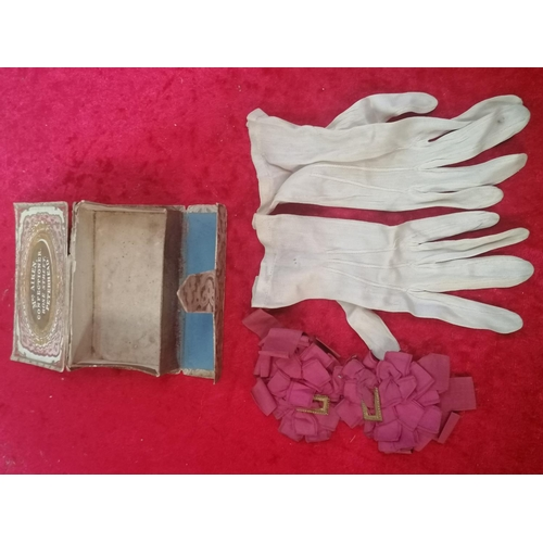 49 - Antique childs satin gloves and ribbon buckles