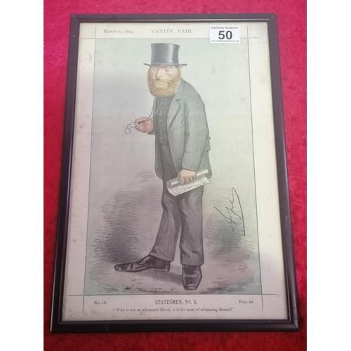 50 - 1869 Vanity Fair Print. Neatly Framed.