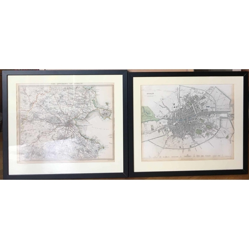 A PAIR OF ANTIQUE MAPS OF DUBLIN, published under the Superintendence of the Society for the Diffusion of Useful Knowledge, by Baldwin & Cradock, 47 Paternoster Row 1836, 1837, London: Chapman and Hall, 186, STRAND 1844, 32cm x 39cm,  33cm x 40cm, framed. (2)