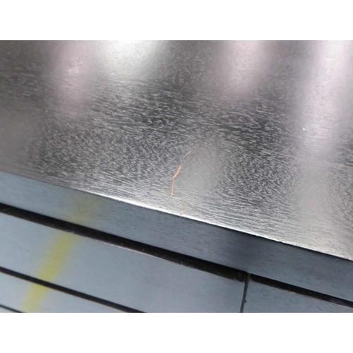 48 - SIDEBOARD, contemporary design, ebonised finish, 150cm x 45cm x 86cm. (slight faults)...